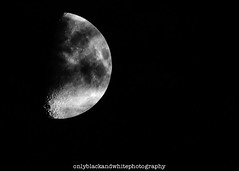 Moon (onlyblackandwhitephotography) Tags: moon lunar lunary satellite crater sky night bw blackwhite monochrome halfmoon spooky nikon