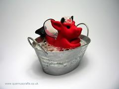 Little Grumpy Bath Tub Dragon (QuernusCrafts) Tags: cute bath dragon bubbles polymerclay bathtub grumpy quernuscrafts
