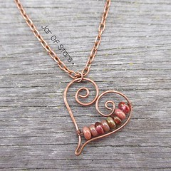 IMG_0087 (kayleigh richardson) Tags: swirl heart pink beads bronze copper chain romantic rustic