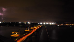 Lights and Lightning (elenaleong) Tags: longexposure nightscape dam lightning singpore lightbursts marinabarrage bicycletrails barragewall
