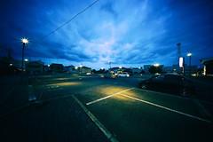 Day 205/366 : Parking Lot at Dusk (hidesax) Tags: day205366 205366 parkinglotatdusk deep clouds dusk lights lines spot ageo saitama japan hidesax sony a7ii voigtlnderheliarhyperwide10mmf56vmmount 366project2016 366project 365project