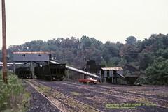 P&LE loader at C-ville, PA. 8-27-1987 (jackdk) Tags: coal coalloader ple pittsburghandlakeerie hopper hoppercars connellsville