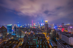Nightscape of Shanghai City (Yinjia Pan) Tags: 14l asia canonef14mmf28liiusm china chinese eos1dx longexposure photography shanghai wideangle aerialview building city horizontal landmark landscape night nightscape outdoors