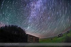 Star Trails Rising over Larson Ranch (Amazing Sky Photography) Tags: circumpolar grasslandsnationalpark larsonranch polaris saskatchewan abandoned pioneer prairie rustic startrails