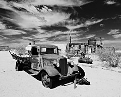 after the gold rush...(HTT) (BillsExplorations) Tags: truck truckthursday rust htt old vintage mine mill stampmill gold goldmine goldrush chevrolet chevrolettruck blackandwhite monochrome museum mojavedesertheritageandculturalcenter route66 goffs california