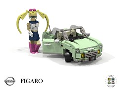 Nissan Figaro (Pike Factory - 1991) (lego911) Tags: nissan figaro pike coupe convertible 1991 1990s auto car moc model miniland lego lego911 ldd render cad povray japan japanese cute sailor moon lugnuts challenge 106 exclusiveedition exclusive limited special edition