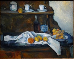 CEZANNE,1877-79 - Le Buffet - Still Life, The Buffet (Budapest) - 0 (L'art au prsent) Tags: art painter details dtail dtails detalles painting paintings peinture peintures 19th 19e peinture19e 19thcenturypaintings 19thcentury detailsofpainting detailsofpaintings tableaux paulczanne paulcezanne cezanne czanne stilllife naturemorte budapest hongrie hungary citrons citron lemon lemons orange oranges nappe nappeblanche whitecloth chiffon cloth bleu blue tasse cup sucrier sugarbowl buffet knife fruit food pomme apple apples glass verre dessert biscuits