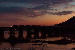 Standard Cab Sunset (marko138) Tags: 33a cr3347 emd gp402 harrisburg ns3038 norfolksouthern pitl pennsylvania pittsburghline rockville rockvillebridge exconrail freighttrain locomotive mainline manifest middledivision railfan railroad railroadphotography slowshutter sunset susquehannariver train