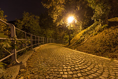 Stone path (Dino Barsic) Tags: path stone night light nature fence dark trail walkway city old upper town zagreb street lantern europe balkan outdoor croatia calm lights outdoors shadows wide canon600d