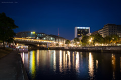 Spree at Friedrichstrasse, Berlin (Nicholas Olesen Photography) Tags: berlin germany spree river capital city europe horizontal nikon d7100 night lights evening reflection u bahn long exposure banks buildings bridge water skyline waterfront architecture outdoors