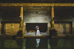 211-ML-5DM32178 (markleonard) Tags: wedding photography roman baths bath bride groom portrait natural light night scene dark reflection water pool