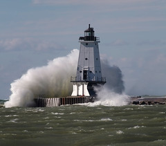 Ludington North Breakwater Lighthouse (laura's POV) Tags: lighthouse storm michigan wave lakemichigan greatlakes ludington windstorm northbreakwaterlighthouse puremichigan northbreakwaterlight lauraspointofview lauraspov