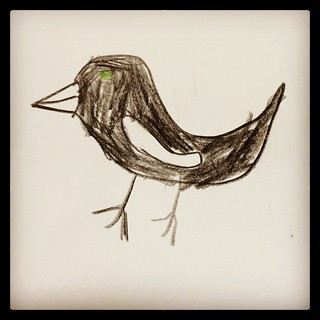 365/346 • Z has returned to her ornithological drawings - this is a magpie • 💗 #2014_ig_346 #6yo #birds #pencil #drawing #art #love #zoe #latergram