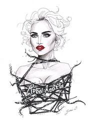 Rebel Heart (G-nuinart) Tags: red white black hot sexy art love fashion loving illustration rebel for living artwork arte heart drawing d g madonna icon lips blonde dibujo ilustracion illuminati ilustracin rebelde mdna