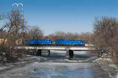 Tier 4's over the Mississippi (shawn_christie1970) Tags: railroad blue winter cold ice minnesota train unitedstates minneapolis mississippiriver ge demonstrator codeblue nicolletisland tier4 gevo es44ac wayzatasub gecx2027 gecx2028