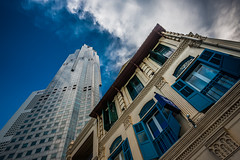 Old and New (Katherine Young) Tags: old city travel blue sky architecture modern clouds buildings nikon singapore asia cityscape skyscrapers wideangle tall d800 1635mm