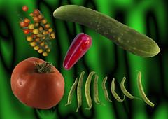 Garden produce (XPinger (Chris Sutton)) Tags: vegetables beans cucumber tomatoes chilli topazadjust topazremask
