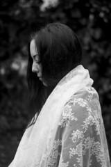 (Esther'90) Tags: portrait blackandwhite bw woman garden hair spring veil bokeh tulle
