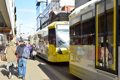 Effects of political marches. Sat 7th March 2015. Manchester Metrolink. (Fred Collins afloat and ashore) Tags: bombardier edl englishdefenceleague lightrail lrv m5000 manchester metrolink mosleystreet political princess rallies stpeterssquare street tram tramcar tramway uaf uniteagainstfascism