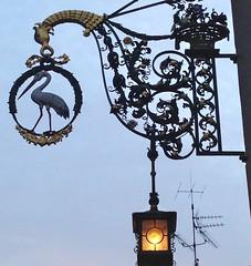 Freiburg im Breisgau (micky the pixel) Tags: bird sign germany deutschland schild freiburg laterne stork vogel storch breisgau schwabentor oberlinden nasenschild