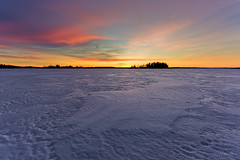 View of Astotin Lake and High Island (WherezJeff) Tags: winter sunset lake snow canada nationalpark wind alberta elkisland fortsaskatchewan astotin