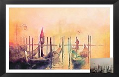 A Misty Morning in Venice (Pam Saville) Tags: venice boats gondolier gondoliers sunrise morning mist golden orange red