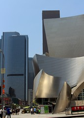 Walt Disney Concert Hall (Prayitno / Thank you for (10 millions +) views) Tags: california ca blue sky music building skyline architecture frank design la town hall los high concert downtown day time outdoor designer unique steel hill angles sunny down gehry center disney architect bunker rise walt stainless overview konomark