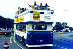 Slide 068-36 (Steve Guess) Tags: derby day epsom downs surrey england gb uk open top bus topper topless dba227c lancaster leyland atlantean rear