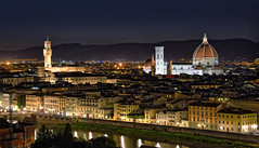 Notturno Fiorentino (manuelecant) Tags: firenze florence tuscany toscana italy italia night panorama piazzale michelangelo brunelleschi santa maria del fiore palazzo priori hdr nikon d5500 lights long exposure notte notturno