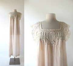 1910s pale pink silk and lace nightgown (Small Earth Vintage) Tags: smallearthvintage vintageclothing vintagefashion nightgown 1910s edwardian lingerie palepink silk lace embroidered