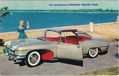 SE Pontiac Detroit MI c.1950 THE PONTIAC STRATO CHIEF  Concept Car only 53 inches in height WITH ALL-AROUND VISION 250HP STRATO CHIEF V8 hinged roof & door for EASY ENTRY & EXIT became the Catalina (UpNorth Memories - Donald (Don) Harrison) Tags:  railroad ferry car excursion vintage antique postcard rppc don harrison upnorth memories upnorth memories upnorthmemories michigan history heritage travel tourism michigan roadside restaurants cafes motels hotels tourist stops travel trailer parks campgrounds cottages cabins roadside entertainment natural wonders attractions usa puremichigan