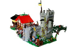 Inside Farhelm Walls (Roy of Floremheim) Tags: lego moc creation build royoffloremheim islesofaura ioa big glider town city castle medieval knights tower vines landscape market buildings inn house tree cart people cobblestone roofs flags lightgrey red black