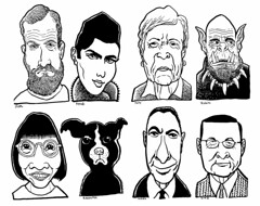 Celebrities and Drudges (Don Moyer) Tags: face faces grid ink drawing moleskine notebook moyer donmoyer brushpen dog