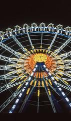 Ferriswheel (greendarkroom) Tags: agfact diafilm greendarkroom munichatnight mnchen oktoberfest scans wiesn2016 lights bokeh fair people sunset light black blue munich cultur germany night