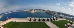View from the Upper Barrakka (Flavio~) Tags: malta valleta panoramic view port cannons fort ships green blue flag