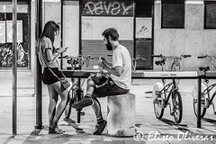 Night pause (Eliseo Oliveras) Tags: eliseooliveras eliseooliveras barcelona catalonia poblenou spain barcelone catalunya catalua catalogne espaa espagne espanya urban city street people woman female girl femme mujer dona beauty beautiful cute pretty sexy blackandwhite