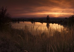 The magic  of autumn evening (frantiekl) Tags: dusk twilight evening sky water light autumn trees landscape nature outdoor wildflowers bright brightsky night lake canon ndfilter bohemia
