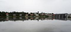 City Hall & Houses (zxgirl) Tags: em5ii iceland reykjavik building city lake overcast reflect scene travel trip water reykjavk capitalregion is buildings p8200012