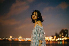 (I C E I N N) Tags: e fe sony outdoor photoshoot asian girl moody gaze people portrait green blue scales dress night city river riverfront reflection lights sonya7ii ilce7m2 zhongyi mitakon speedmaster 50mm f095 dof creamy blurry bokeh