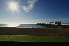 Morning @ the Beach (bimbler2009) Tags: sonyalpha900 outdoor sky sun pier landscape cloud beach sea ocean reflection light silhouette shimmer