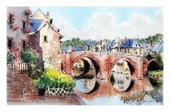 Espalion - France (guymoll) Tags: espalion france pont saintjacques saintjacquesdecompostelle chemins de saint jacques plerins aquarelle watercolour watercolor croquis sketch