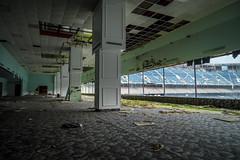 DSC01394 (ArchitecturalAfterlife) Tags: green history abandoned broken football stadium decay michigan adventure explore urbanexploration pontiac urbanexploring urbex silverdome
