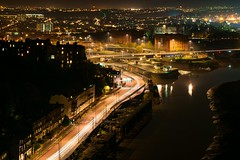 Bristol from the clifton suspension bridge (technodean2000) Tags: from road uk bridge england night river bristol landscape lights nightscape suspension clifton