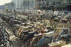SAIGON 1965 - Photo by Wilbur E. Garrett (manhhai) Tags: street city people color men boys horizontal outdoors photography day vietnamese adult image background patterns group young large objects scene vietnam bicycles chi teenager medium ho minh teenage ethnicity