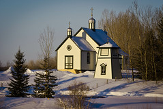 St. Nicholas in Winter (~DGH~) Tags: winter sunrise march alberta pentaxkx 2013 ukrainianculturalheritagevillage stnicholasukrainiangreekcatholicchurch lamontcounty historicalalberta smcpentaxdal50200mmf456ed ~dgh~ 113picturesin2013 digginginthearchivestuesday