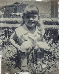 Me At Three (Jo- Brilliant Sun and Mid 60's Today!) Tags: old me grass car fence blackwhite sitting 1954 jo