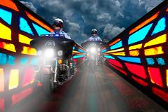 Highway to Heaven (psmithusa) Tags: road storm weather bike composite night highway heaven stlouis police stainedglass hero motorcycle heroes policeman policemen policedepartment pixelfightclub