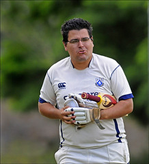 100717.228. Carl Perez.  (THDS170710cricket-26.) (actionsnaps) Tags: men sport out glasses exercise competition cricket ballgame disappointed fitness adults spectacles unhappy margate cricketball wicket notpleased dismissed batsman teamgame protectiveclothing cricketbat batandball physicalactivity teamsport bareheaded keepingfit battinggloves competitivesport noncontactsport localcricket thanetkent kentcricket margatecricketclub carlperez tivolimeadow kentregionalcricketleague1beast hartsdownroad dovercosmopolitanscricketclub