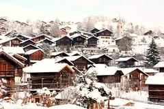 Vercorin, small swiss village (ameliedooba) Tags: wood winter mountain snow alps cute church switzerland chalet valais pittoresque