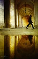 Frankreich Nancy - Shadows (Pana53) Tags: person frankreich wasser relief nancy spiegelung farbig farben lampen bogen torbogen textur lichtschatten mauerwerk nässe pana53 photographedbypana53